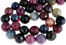 Mix ruby and sapphire, natural, faceted round, 12mm