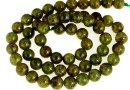 Natural olive grossular garnet, round, 7mm
