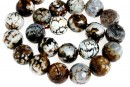 Agate, crab fire, faceted round, intense brown, 16mm