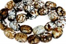 Agate, crab fire, faceted rounded tube, intense brown, 18x14mm