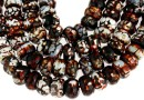 Agate, crab fire, round, intense red brown, 14x8-9mm