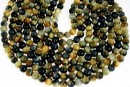 Tiger eye, natural, blue-yellow, round, 6mm