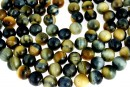 Tiger eye, natural, blue-yellow, round, 12mm
