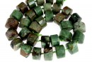 Green jasper, faceted triangle, 15.5mm