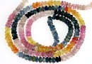 Multi sapphire, natural stone, faceted rondelle, 3.3-3.6mm