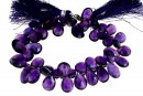 Amethyst, natural, faceted briolette, 11-13mm
