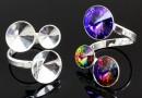 Baza inel cu bordura, argint 925, 3 rivoli Swarovski, 8-10-12mm - x1