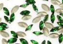 Swarovski navette, fancy chaton, dark moss green, 10mm - x4