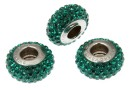 Swarovski, becharmed pave emerald dark green, 13.5mm - x1
