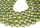 Perle Swarovski disc, iridescent green pearl, 14mm - x4