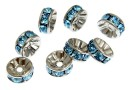 Swarovski, spacer, placat rodiu, aquamarine, 6mm - x2