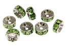 Swarovski, spacer, placat rodiu, peridot, 6mm - x2