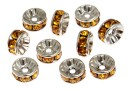 Swarovski, spacer, placat rodiu, topaz, 6mm - x2