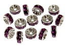 Swarovski, spacer, placat rodiu, amethyst, 6mm - x2