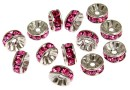 Swarovski, spacer, placat rodiu, rose, 6mm - x2