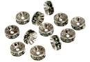 Swarovski, spacer, placat rodiu, black diamond, 6mm - x2