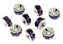 Swarovski, spacer, placat rodiu, purple velvet, 6mm - x2