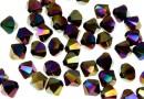 Swarovski, margele bicone, rainbow dark2x, 5mm - x10