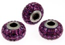 Swarovski, becharmed pave amethyst, 15mm - x1