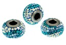 Swarovski, becharmed pave blue zircon, 14.5mm - x1