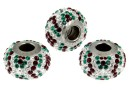 Swarovski, becharmed pave emerald, 14.5mm - x1