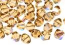 Swarovski, margele bicone, light colorado topaz shimmer, 6mm - x10