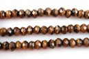 Brown tiger eye, faceted rondelle, 5.7mm