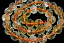 Citrine, natural, clear, microfaceted round, 8mm