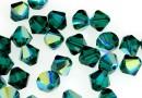 Swarovski, margele bicone, emerald aurore boreale, 3mm - x20