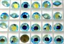 Swarovski, chaton SS39, light turquoise aurore boreale, 8mm - x2