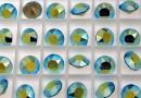 Swarovski, chaton SS39, blue zircon aurore boreale, 8mm - x2