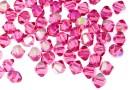 Swarovski, margele bicone, rose aurore boreale, 4mm - x20