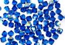 Swarovski, margele bicone, capri blue aurore boreale, 4mm - x20