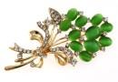 Brosa martisor, buchet flori, verde, 69mm - x1