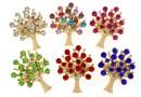 Brosa martisor, copac cu cristale, 32mm - x6  - (1/culoare)