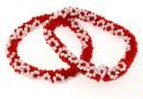 Bratara martisor, margele rosu cu alb, suport elastic - x2