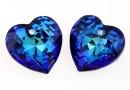 Swarovski, pandantiv inima, bermuda blue, 10.5mm - x2