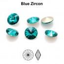 Preciosa rivoli, blue zircon, 6mm - x2