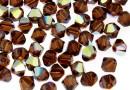 Preciosa, margele bicone, smoked topaz AB, 4mm - x40