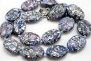 Mosaic stone, flat oval, purple - blue, 25x19mm